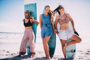 beach summer surfing vacation girls wild friends happy youth surfboards sober living san diego